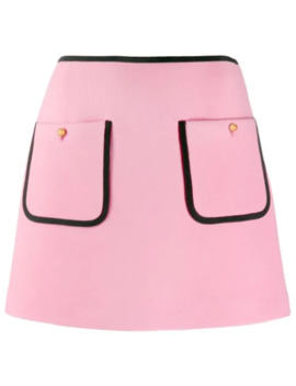 Contrast Piping A Line Skirt by Miu Miu