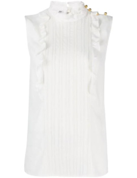 Sleeveless Pleated Front Blouse by Miu Miu