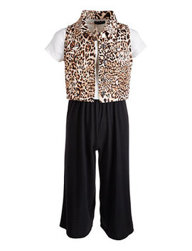 Big Girls 2 Pc. Animal Print Vest & Jumpsuit Set by General