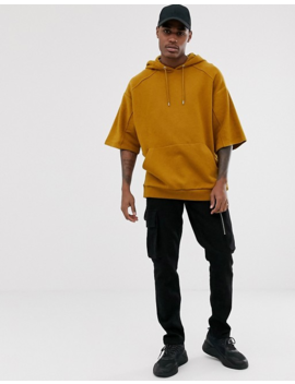 Asos Design Oversized Short Sleeve Hoodie With Reverse Brushback Panels In Tan by Asos Design