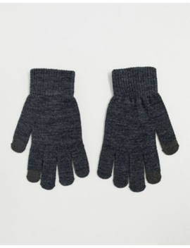 Pieces Touch Screen Glove In Grey by Pieces