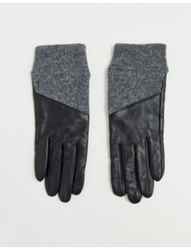 Asos Design Leather Gloves With Rib Cuffs And Touch Screen In Black And Grey by Asos Design