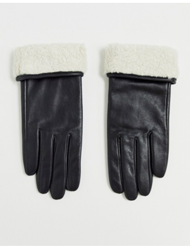 Asos Design Leather Gloves With Touch Screen And Borg Trim In Black by Asos Design