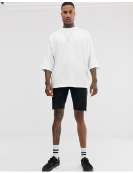 Asos Design Extreme Oversized Longline T Shirt With Roll Sleeve In White by Asos Design