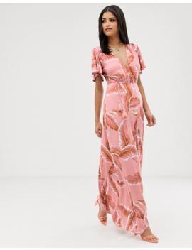 Asos Design Tall Floral Flutter Sleeve Maxi Dress With Tassel Belt by Asos Design