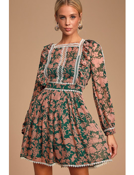 Tatlana Pink And Green Floral Print Long Sleeve Skater Dress by Jovonna London
