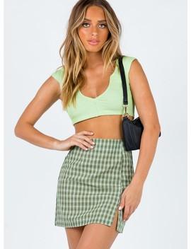 Miss Sally Mini Skirt Green by Princess Polly
