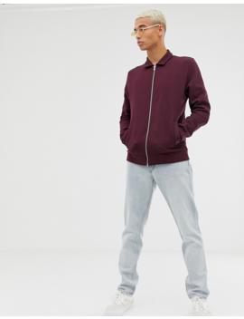Asos Design Harrington Jersey Jacket In Burgundy by Asos Design