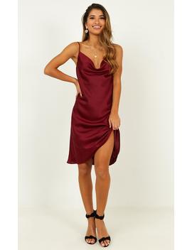 Colour Me Pretty Dress In Wine by Showpo Fashion