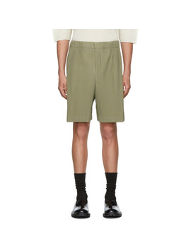 Beige Mc June Pleats Bottom 1 Shorts by Homme PlissÉ Issey Miyake