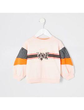 Mini Girls Pink 'lamour' Print Sweatshirt by River Island