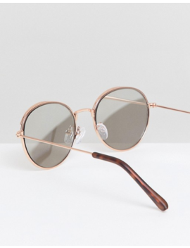 Asos Design Round Sunglasses In Rose Gold With Cap Detail & Silver Mirrored Lens by Asos Design