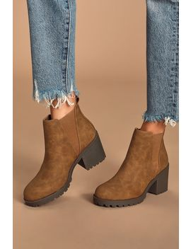 Lisbon Walnut High Heel Ankle Booties by Dirty Laundry