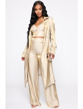 Ladies Love Luxury Satin 3 Piece Set   Gold by Fashion Nova
