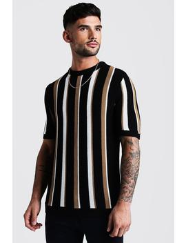 Regular Fit Vertical Stripe Knitted T Shirt by Boohoo