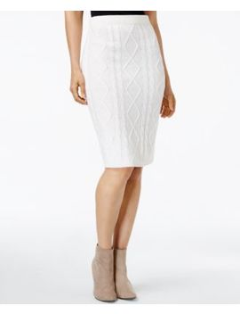 Ny Collection Womens New 1759 Ivory Cable Knit Knee Length Pencil Skirt Xl B+B by Ny Collection