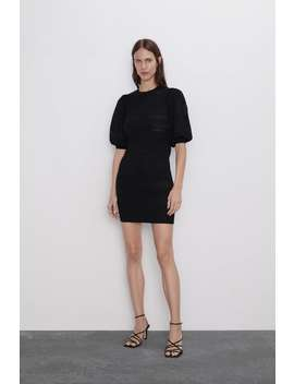 Pointelle Dress With Puff Sleeves Dresses Knitwear Woman by Zara