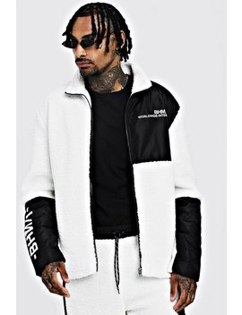 Borg Jacket With Contrast Panels by Boohoo Man
