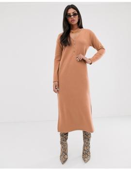 Asos Design Button Detail Super Soft Midi Dress With Side Splits by Asos Design