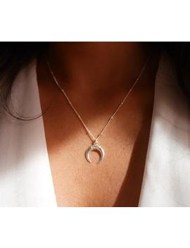 Crescent Silver Moon Necklace   Double Horn Necklace   Sterling Silver Moon Neckalce   Boho Everyday Necklace   Bohemian Moon Necklace by Etsy