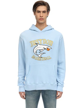 Printed Cotton Sweatshirt Hoodie by Just Don