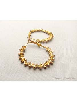 Gold Hoop Earrings, Wire Wrapped, Beaded Hoop Earrings, Gold Hoops, Bohemian Earrings, Gold Jewelry by Etsy