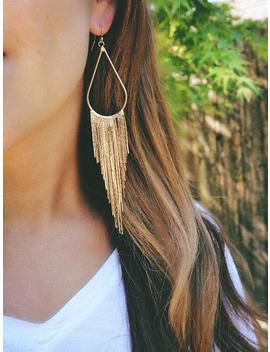 Long Gold Fringe Earrings, Tassel Earrings, Long Gold Chandelier Earrings, Sterling Silver Or 14k Gold Filled Earwires by Etsy