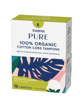 Tampax Pure 100% Organic Cotton Core Regular Absorbency Tampons   16ct by 16ct