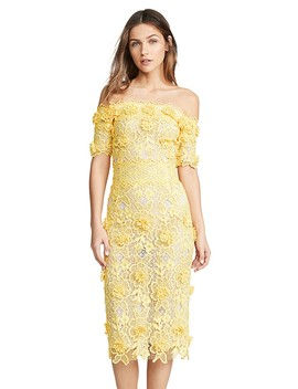 Off The Shoulder Lasercut Lace Dress by Costarellos