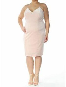 Guess $79 Womens New 5189 Pink V Neck Spaghetti Strap Sheath Dress Xl B+B by Guess
