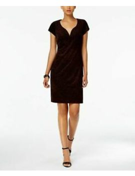 Connected $89 Womens New 1036 Red Printed V Neck Cap Sleeve Sheath Dress 16 B+B by Connected