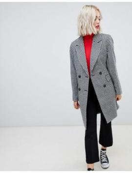 New Look – Hundtandsmönstrad Figursydd Kappa by New Look