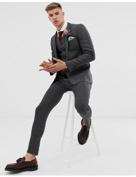 Asos Design Wedding Super Skinny Suit Jacket In Charcoal Herringbone by Asos Design