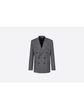Wool And Mohair Double Breasted Jacket, Detachable Scarf by Dior