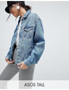 Asos Design – Tall – Mellanblå Jeansjacka I Girlfriend Passform by Asos Design