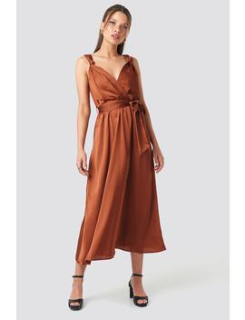 Girdle Detailed Midi Dress Miedziany by Trendyol