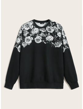 Guys Floral Print Pullover by Romwe