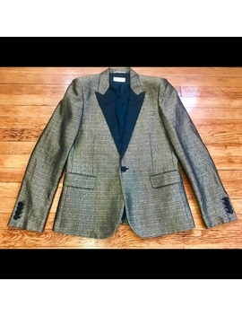 Saint Laurent Paris Silk Golden Jacquard Blazer Preowned/Used by Saint Laurent