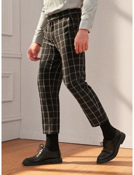 Guys Button Fly Slant Pocket Plaid Pant by Romwe