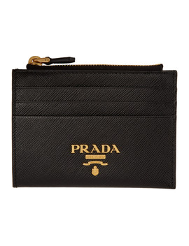 Black Zipped Logo Card Holder by Prada