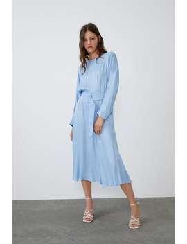 Satin Dress With Belt Maxi Dresses Woman by Zara