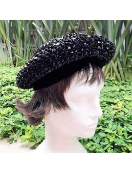 Christian Dior 1960's Authentic Beret In Black Beaded Raffia by Etsy