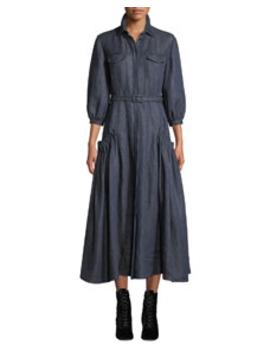 Woodward Belted Linen Ankle Dress, Dark Blue by Gabriela Hearst