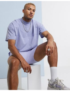 Asos Design Oversized T Shirt With Seam Detail &Amp; Turtle Neck In Purple by Asos Design