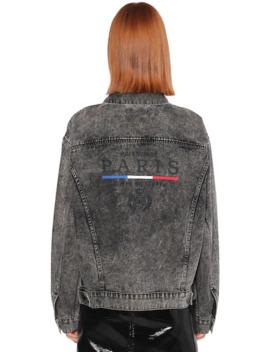Embroiderd Flag Back Logo Denim Jacket by Balenciaga