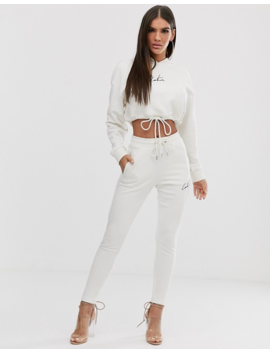 The Couture Club Cropped Motif Drawstring Hoody In Cream by Hoodie
