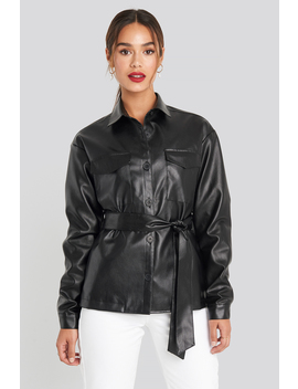 Pu Belted Jacket Black by Chloe B X Na Kd