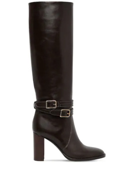 85 Mm Tall Leather Boots W/ Straps by Gianvito Rossi