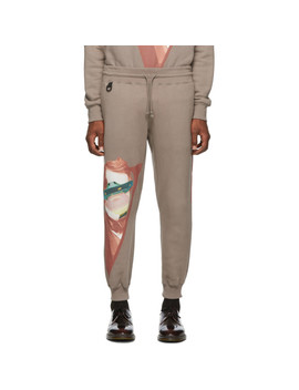 Grey Valentino Edition V Face Ufo Print Lounge Pants by Undercover