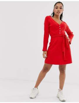 Asos Design Petite Super Soft Rib Fallen Shoulder Mini Dress by Asos Design